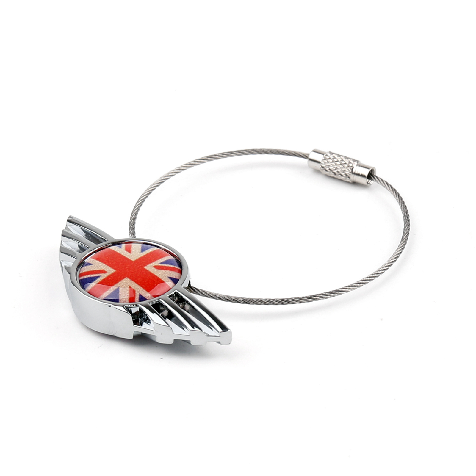 uk union jack checkered wing porte cl s cha ne keychain ring pour mini cooper ebay. Black Bedroom Furniture Sets. Home Design Ideas
