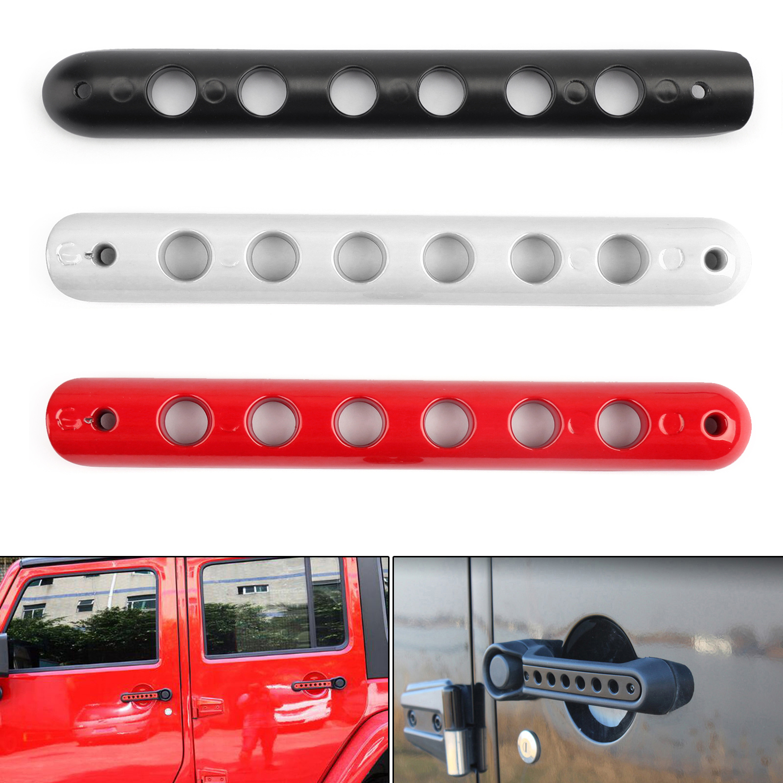 ABS Chrome Door Handle Bowl Cover Trim 3pcs for Jeep Wrangler JK 2 Doors 07-17