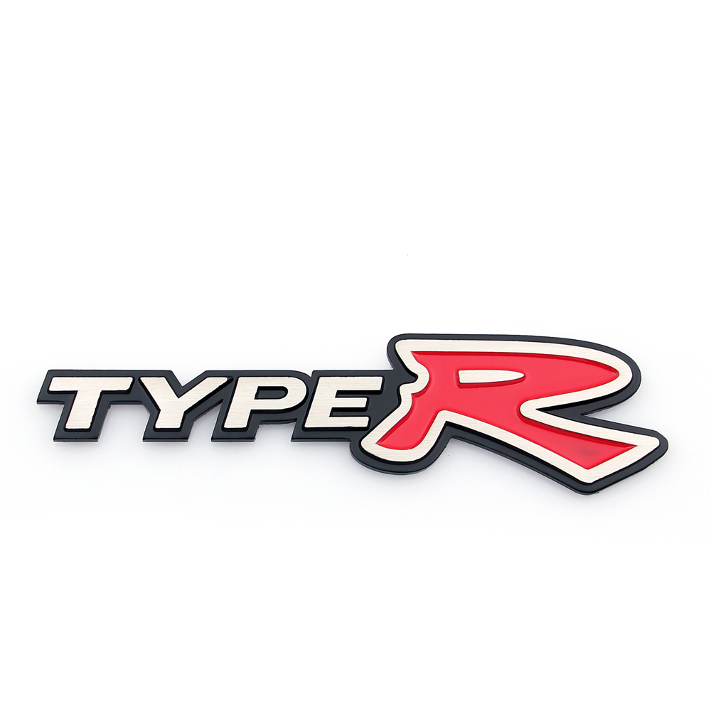 3d Aluminum Emblem Badge Sticker Decal Type R Silver For