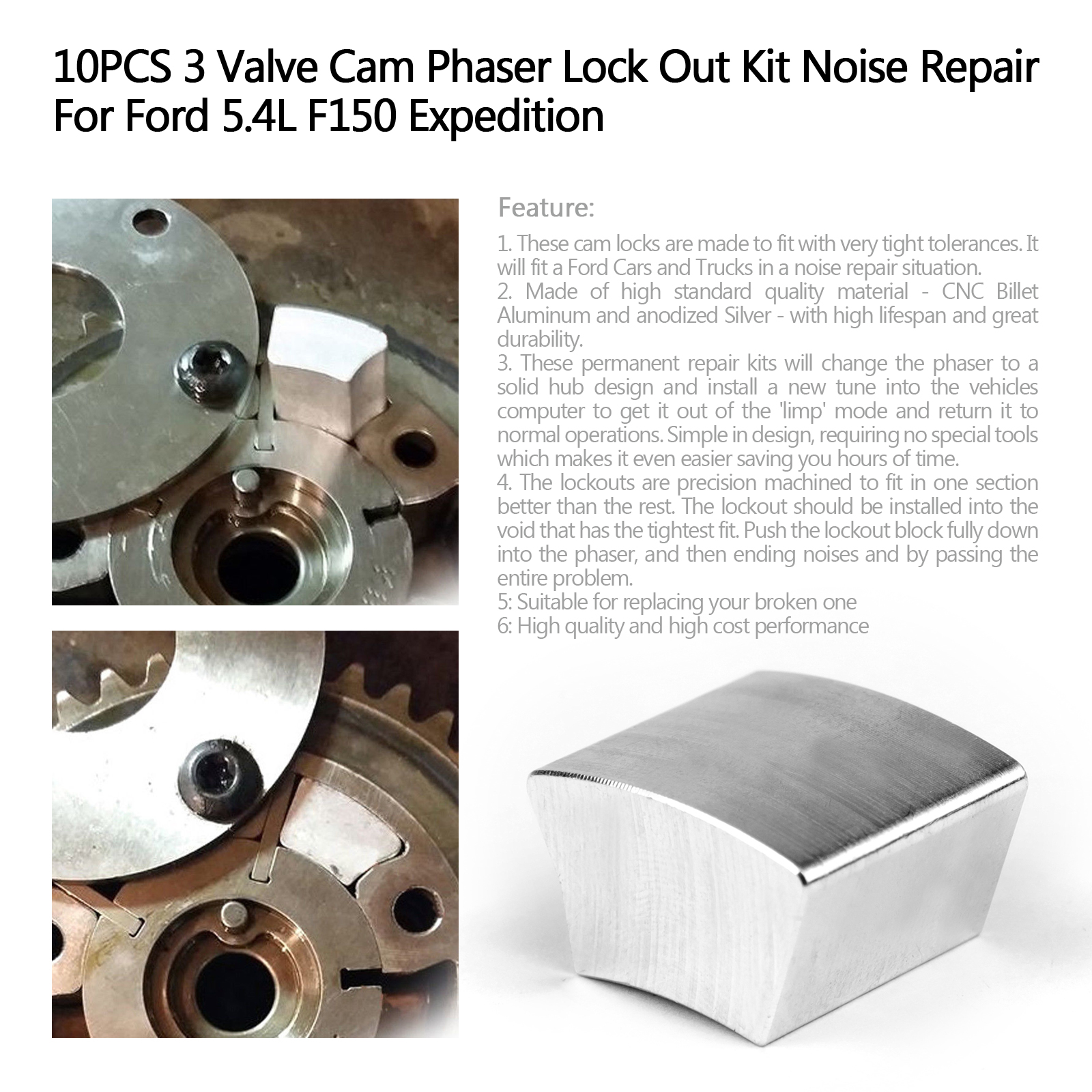 10X 3 Valve Cam Phaser Lock Out Kit Noise Repair For Ford