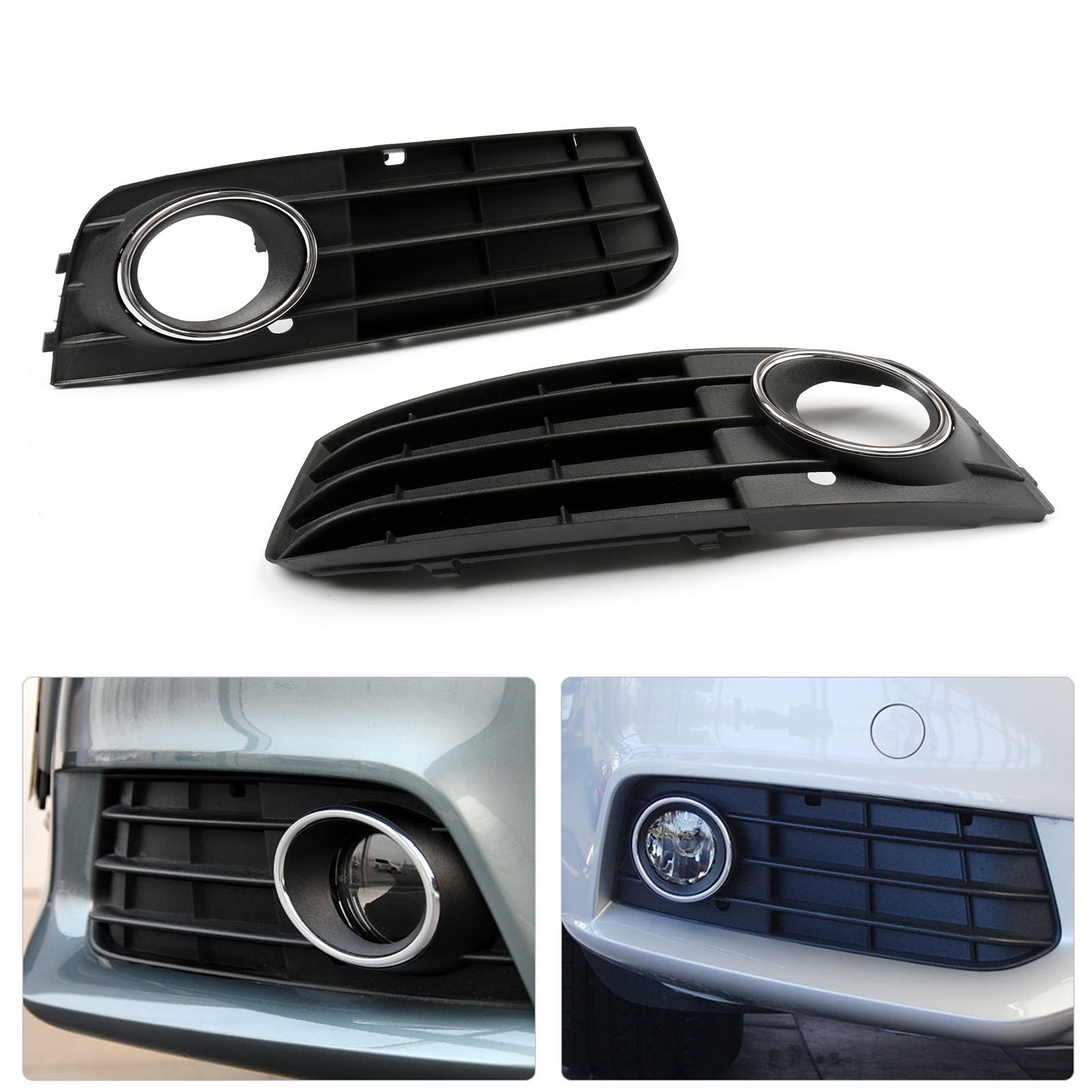 2 pcs front fog light grill grille cover for audi a4 b8. Black Bedroom Furniture Sets. Home Design Ideas