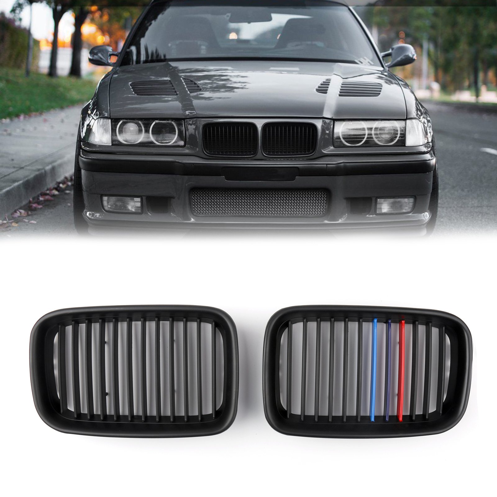 1Pair Matte Black Front Hood Grille Kidney For BMW E36 3