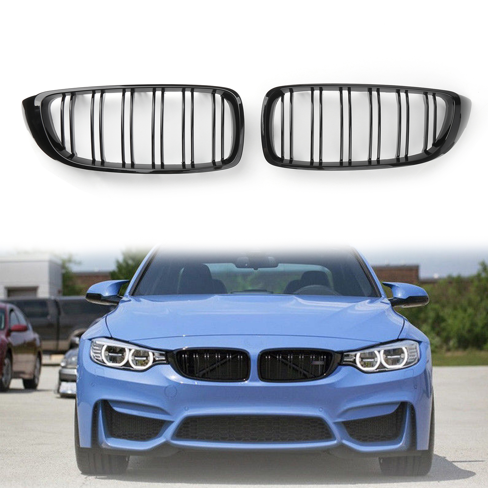 For Bmw F32 F33 F36 F82 2014 Gloss Black Kidney Grille