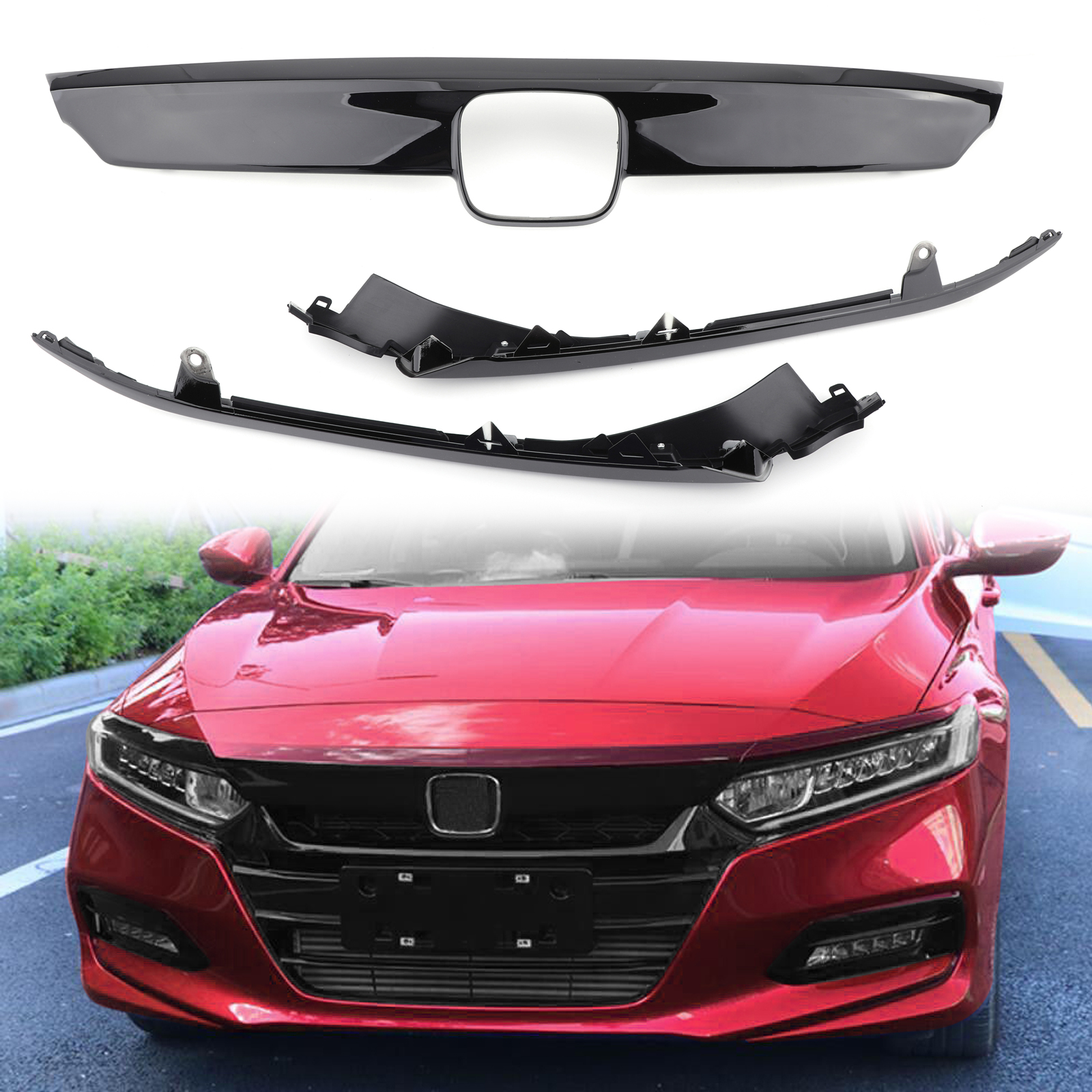 Carbon Fiber Lip Front Grille Cover Moulding Trim For Honda Accord 2018 2019 ABS