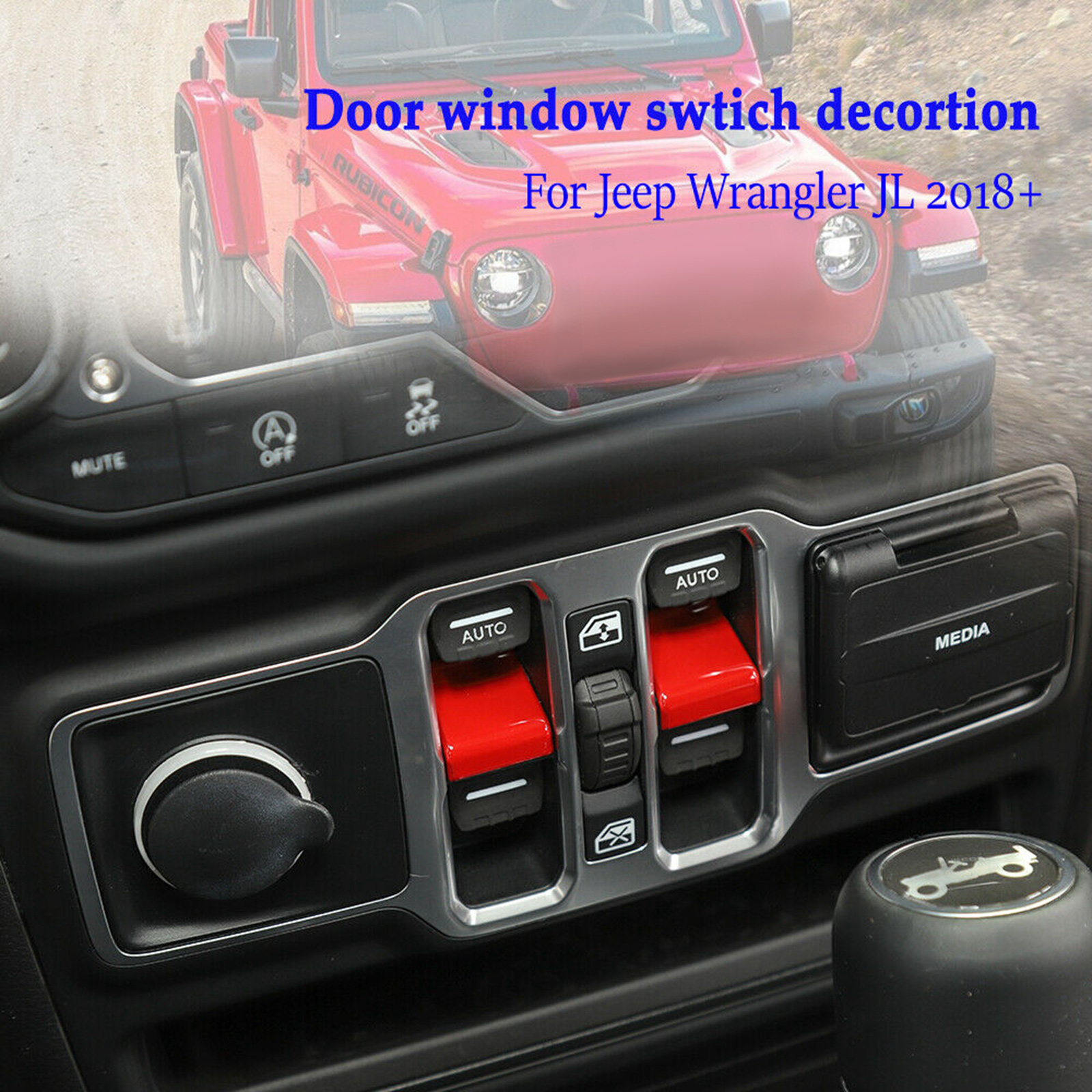 Door Lock Switch Button Cover Decor Sticker Red ABS For Jeep Wrangler JL 2018