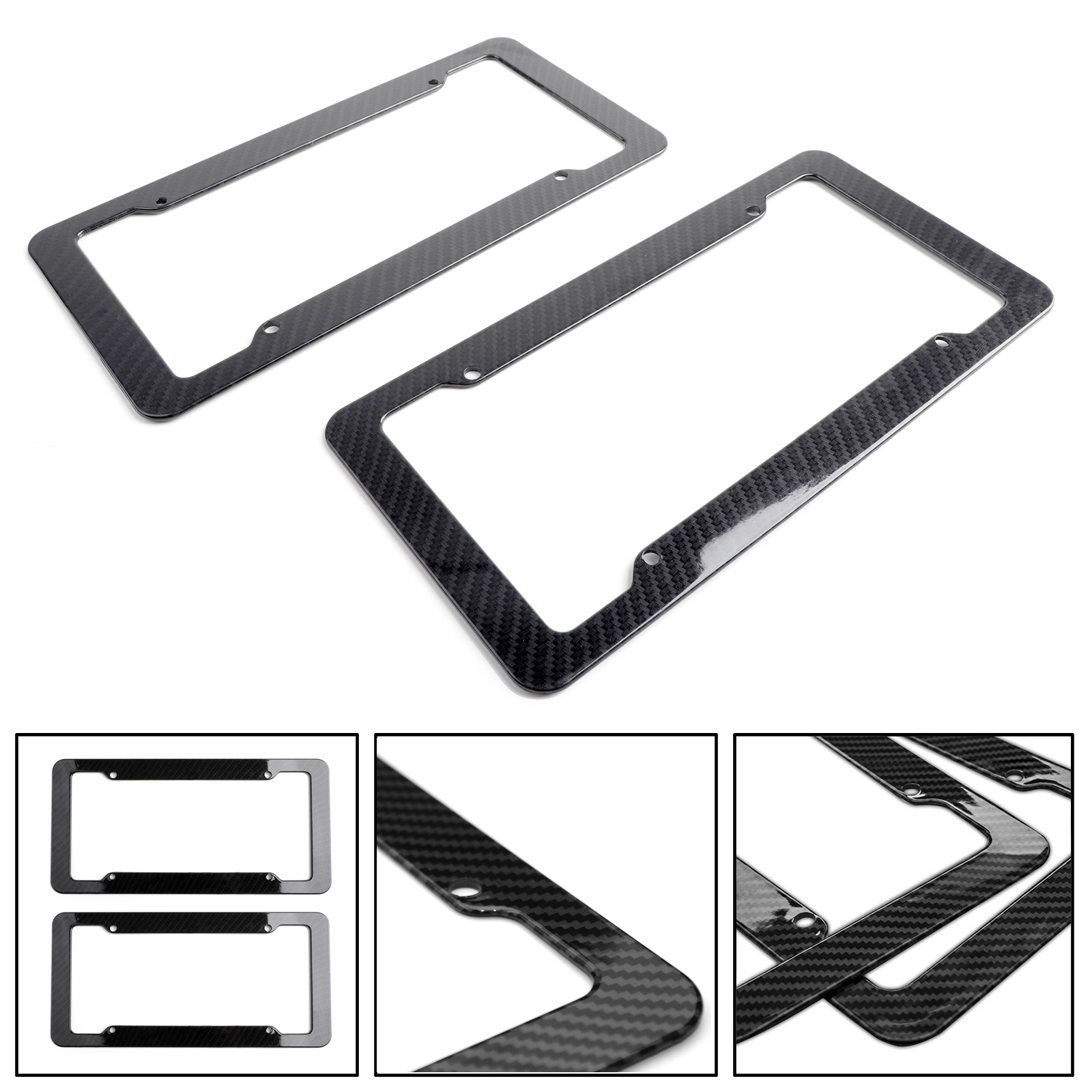 1pcs Carbon Fiber License Plate Holder Cover Frame Front /& Rear with 4 Holes
