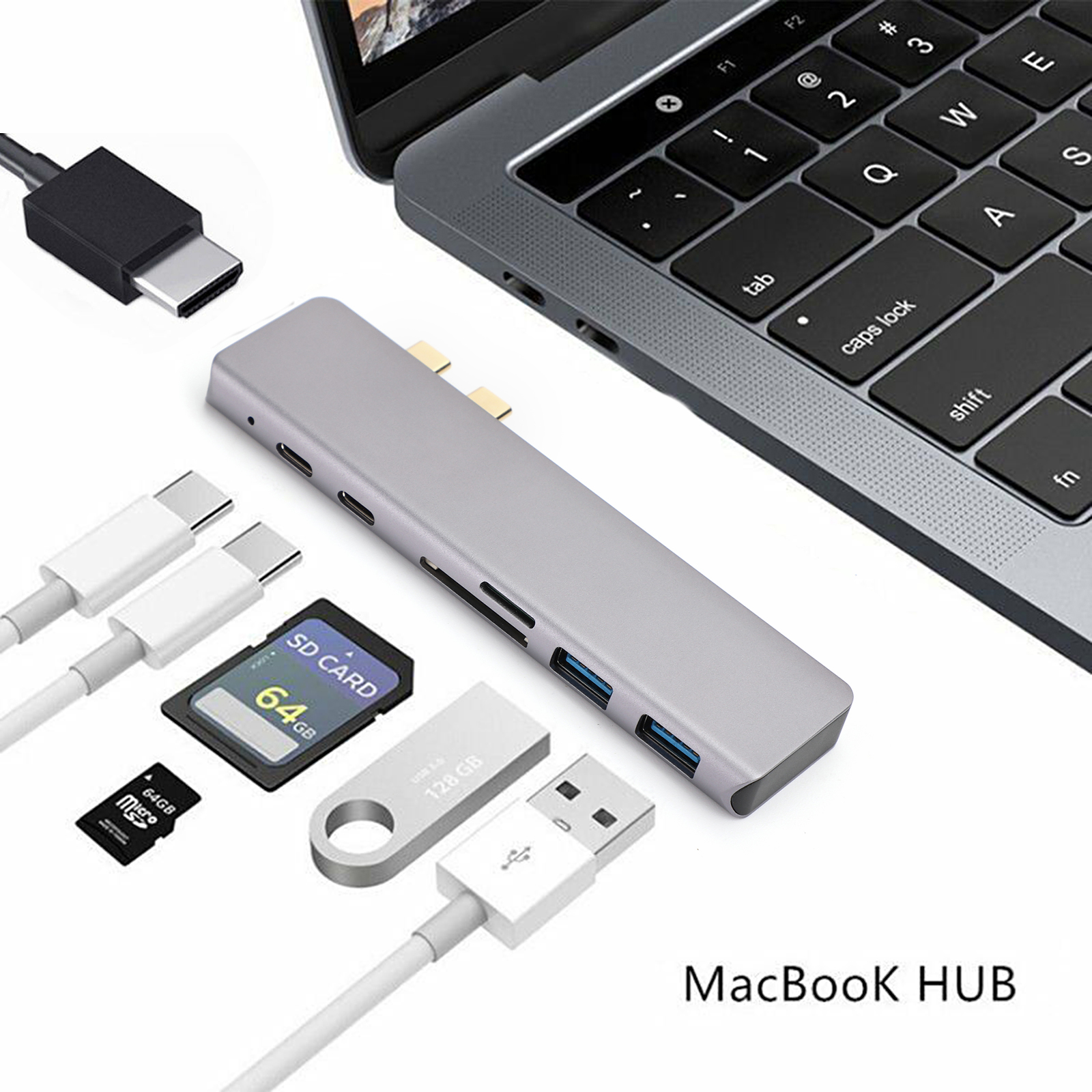 Aluminum USB-C Hub with 2 USB 3.0 Ports SD//Micro SD Type-C for MacBook Pro S1#