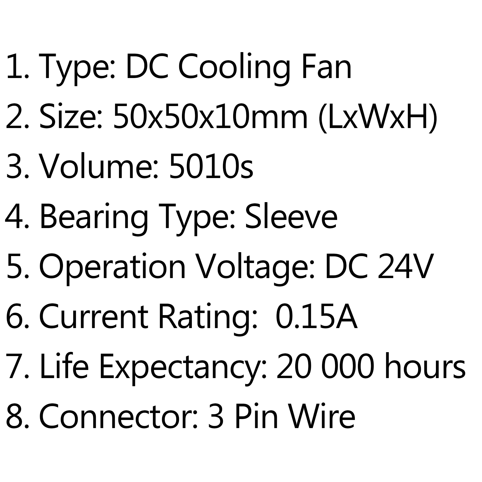 Dc brushless cooling pc computer fan 5v 24v 5010 5010s 50x50x10mm 3 size 50x50x10mm lxwxh 3 volume 5010 4 operation voltage dc 5v 5 current rating 016a 6 life expectancy 20 000 hours 7 connector 3 pin wire greentooth Choice Image