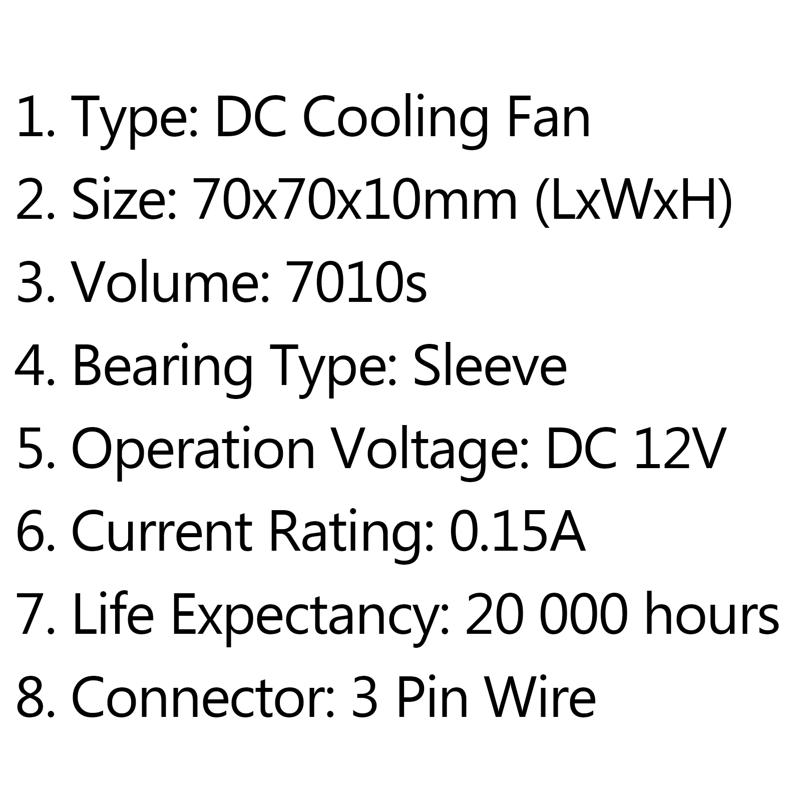 dc brushless cooling pc computer fan 12v 7010s 70x70x10mm 0 15a 3 pin wire a0
