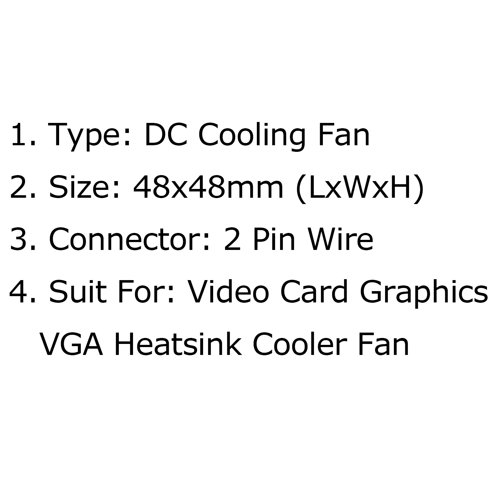 4pcs 2 pin pc cpu cooling ventilador video card graphics