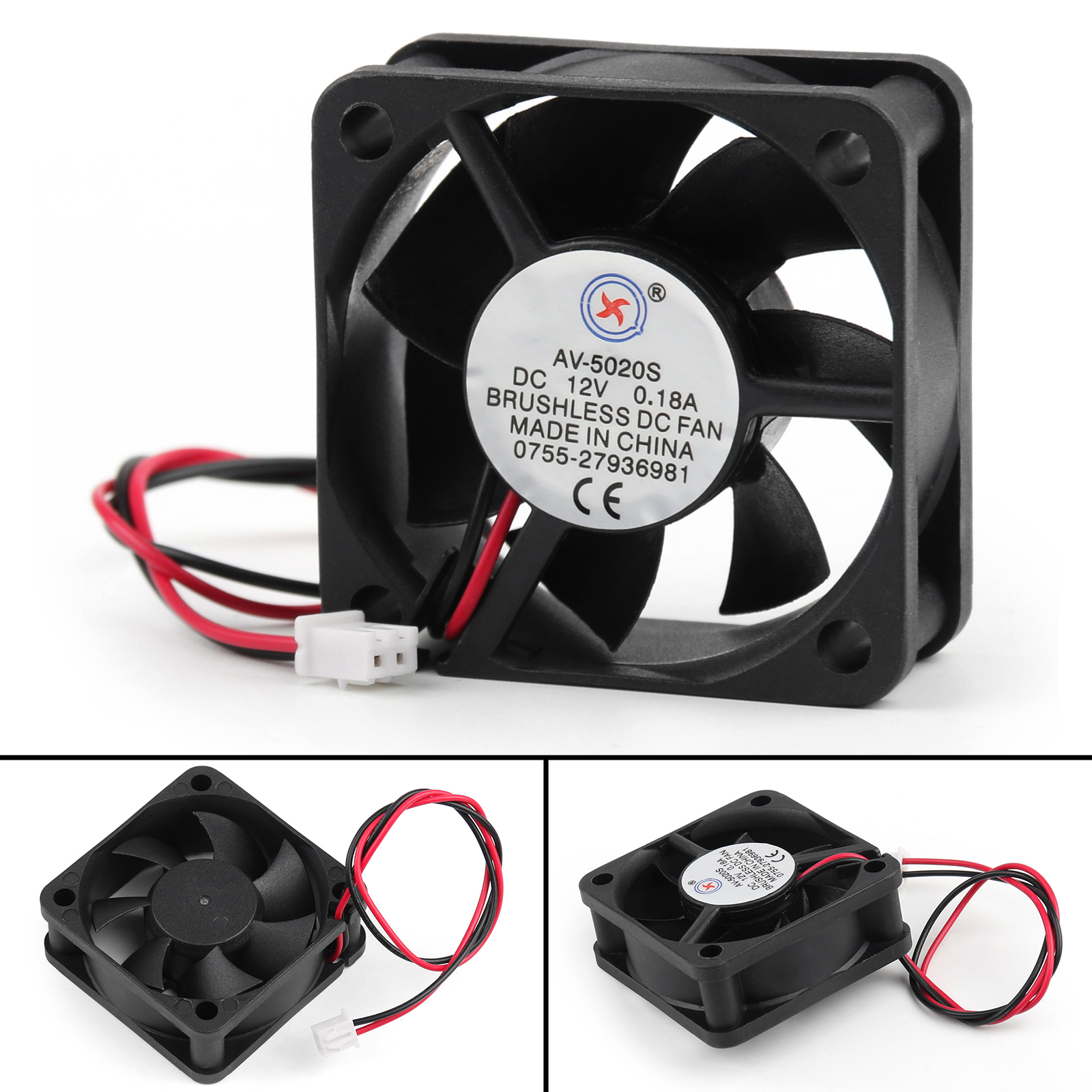 Details about DC Brushless Cooling PC Computer Fan 12V 0 18A 5020s  50x50x20mm 2 Pin Wire SA