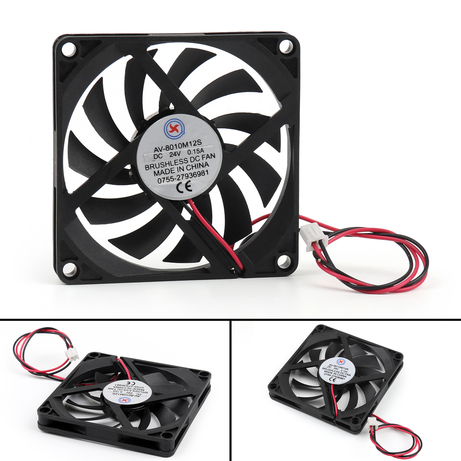 DC Brushless Cooling Fan 24V 0.15A 8010S 80x80x10mm 2 Pin CUP ...