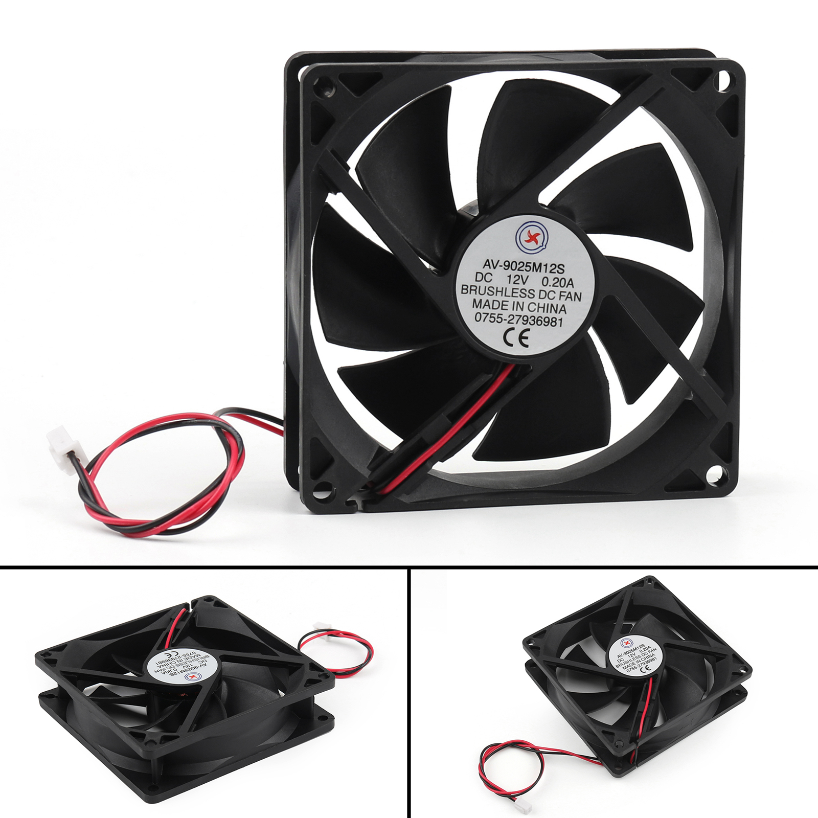 DC Brushless Cooling PC Computer Fan 12V 0.2A 9025s 90x90x25mm 2 Pin Wire UE