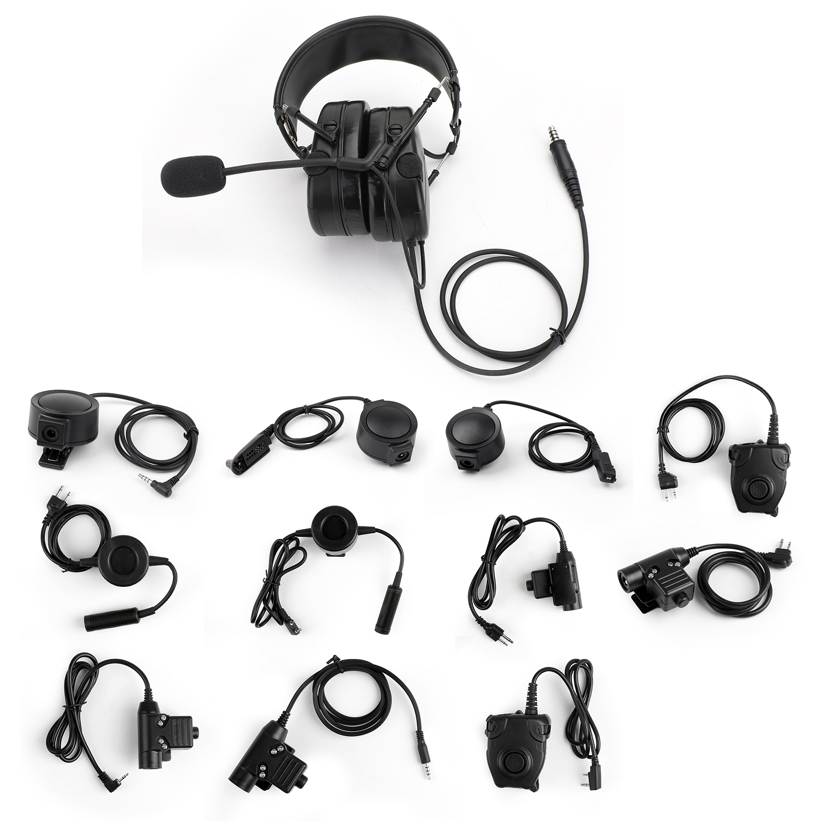 Millitary Style Noise Reduction Headphone PTT Mic for ICOM IC-F11 IC-F11S IC-F21