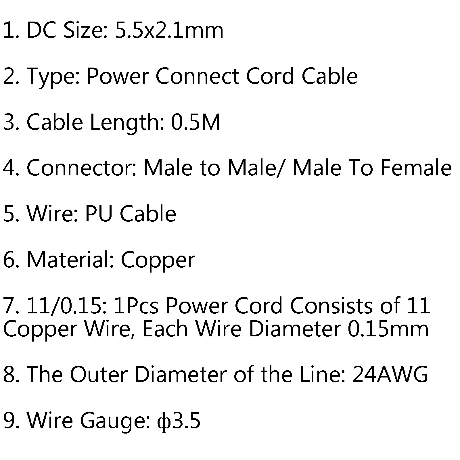 1x DC 5.5x2.1mm Male To Female 24AWG Connector Extension Cable 0.5M ...