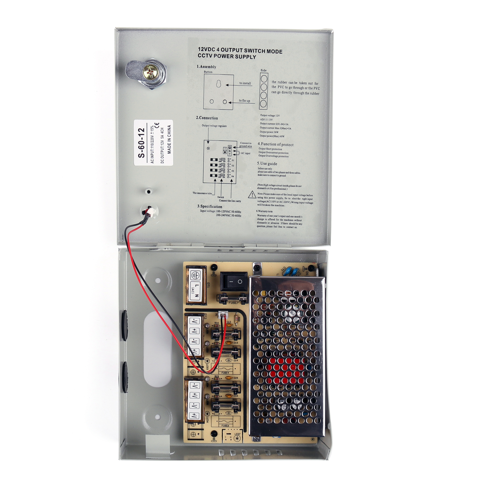 1x 4ch Channel Power Supply Box For Cctv Camera Security Switchmode Psu Protection Circuit Type 4 12v 5a 2 Output Voltage Dc 5 3 Current 01 045a Multiple Outputs