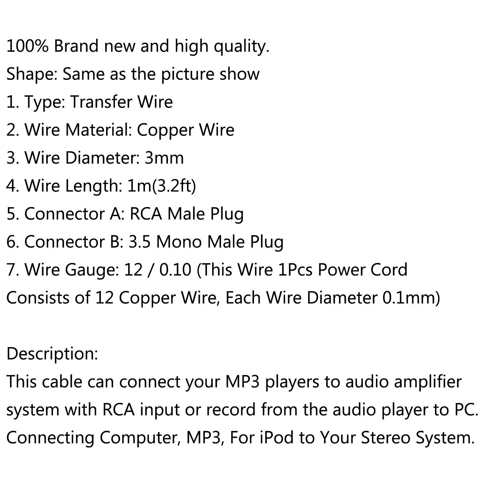 Rca Wire Specs - Trusted Wiring Diagram