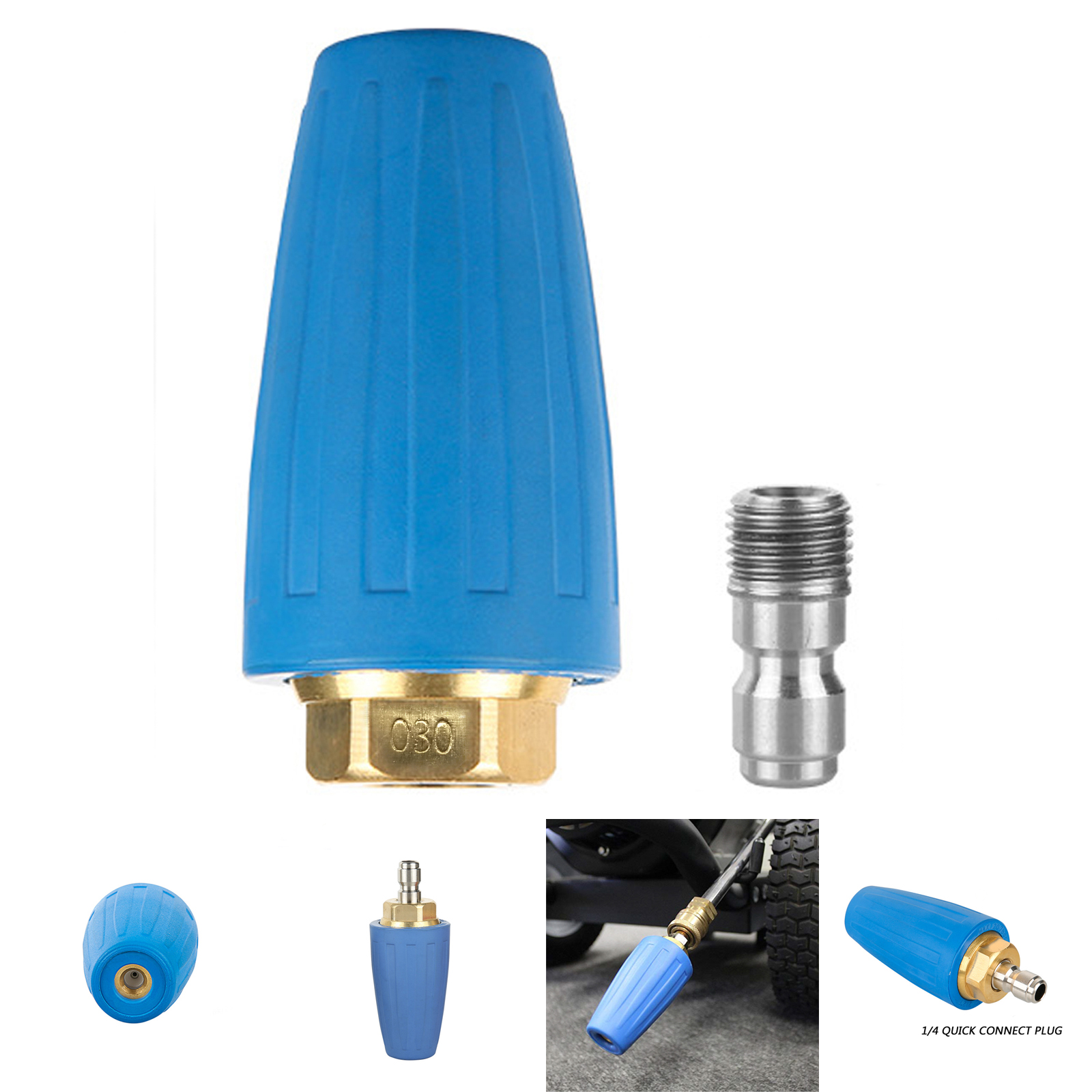 """3.0//4.0 GPM Pressure Washer Rotating Turbo Nozzle 4000 PSI 1//4/"""" Quick Connect"""