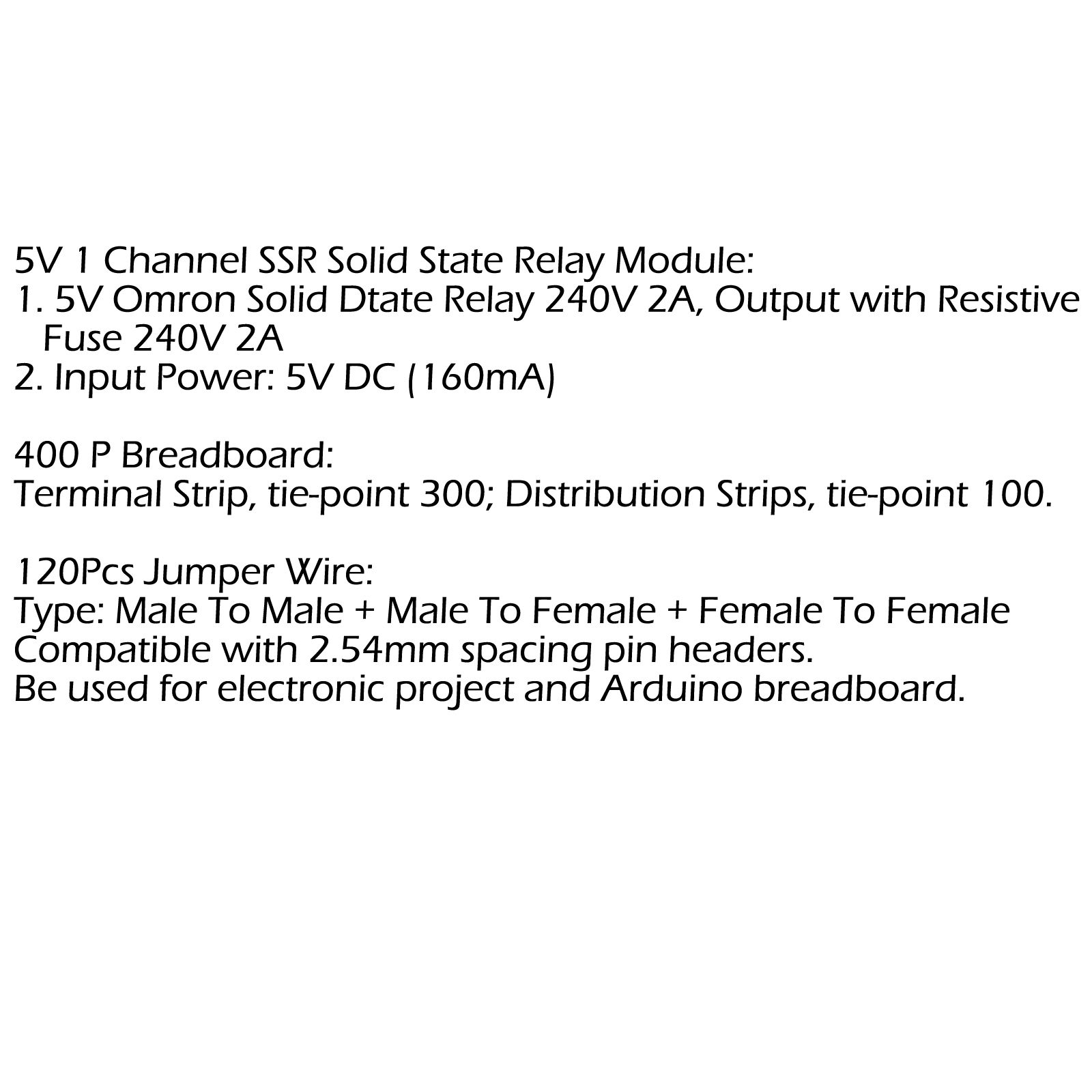 5v 1 Channel Ssr Solid State Relay Module 400 P Breadboard Jumper Project 100 Brand New And High Quality Shape Same As The Picture Show