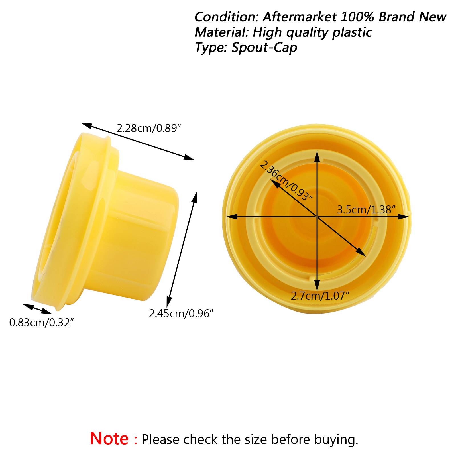 10x Yellow Spout Cap Top For Blitz Fuel Gas Can 900302