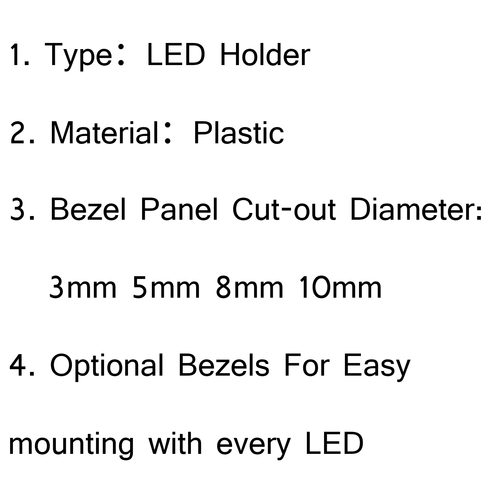 1000pcs 8mm led holder light lamp diode plastic bezel