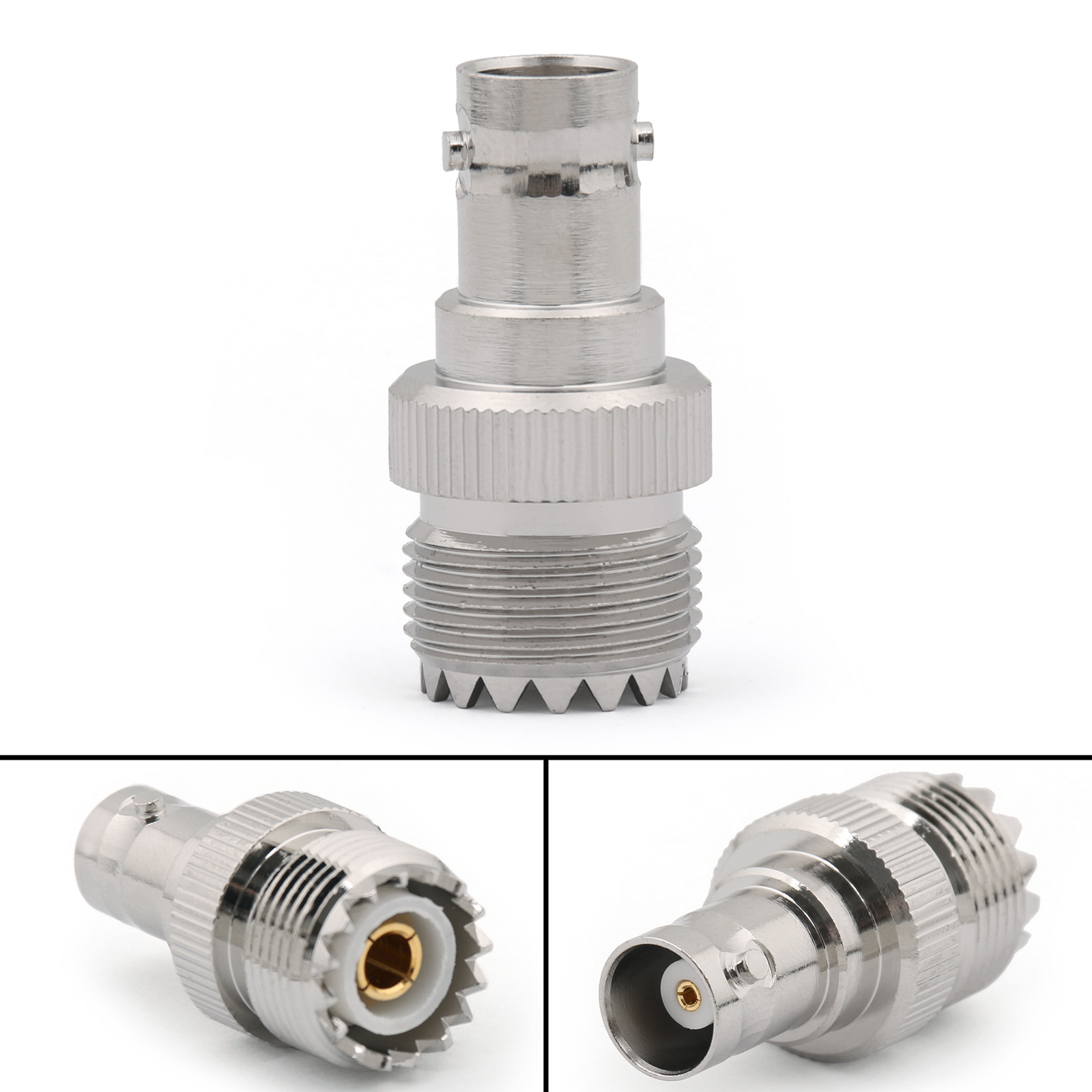 Shape: Same as the picture show 1. Type: RF Connector Adapter 2. Insulators: PTFE 3. Impedance: 50 ohm 4. Connector A: UHF Female 5. Connector B: BNC Female