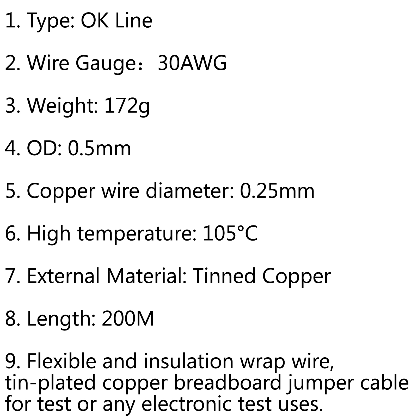 200m 30awg electrical wrapping wire single core ok line airline product shape same as the picture show 1 type ok line 2 wire gauge30awg 3 weight 172g 4 od 05mm 5 copper wire diameter 8 colors keyboard keysfo Choice Image