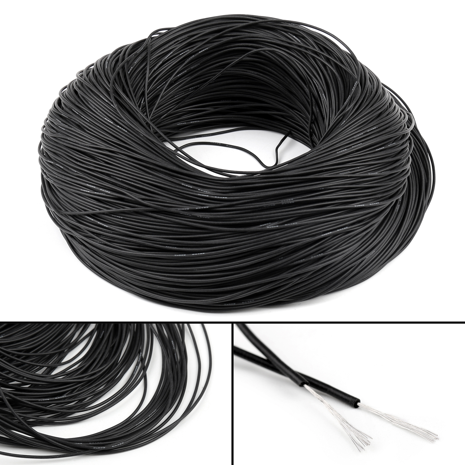 20M Flexible Stranded Silicone Rubber Wire Cable 28AWG Gauge OD 1.3 ...