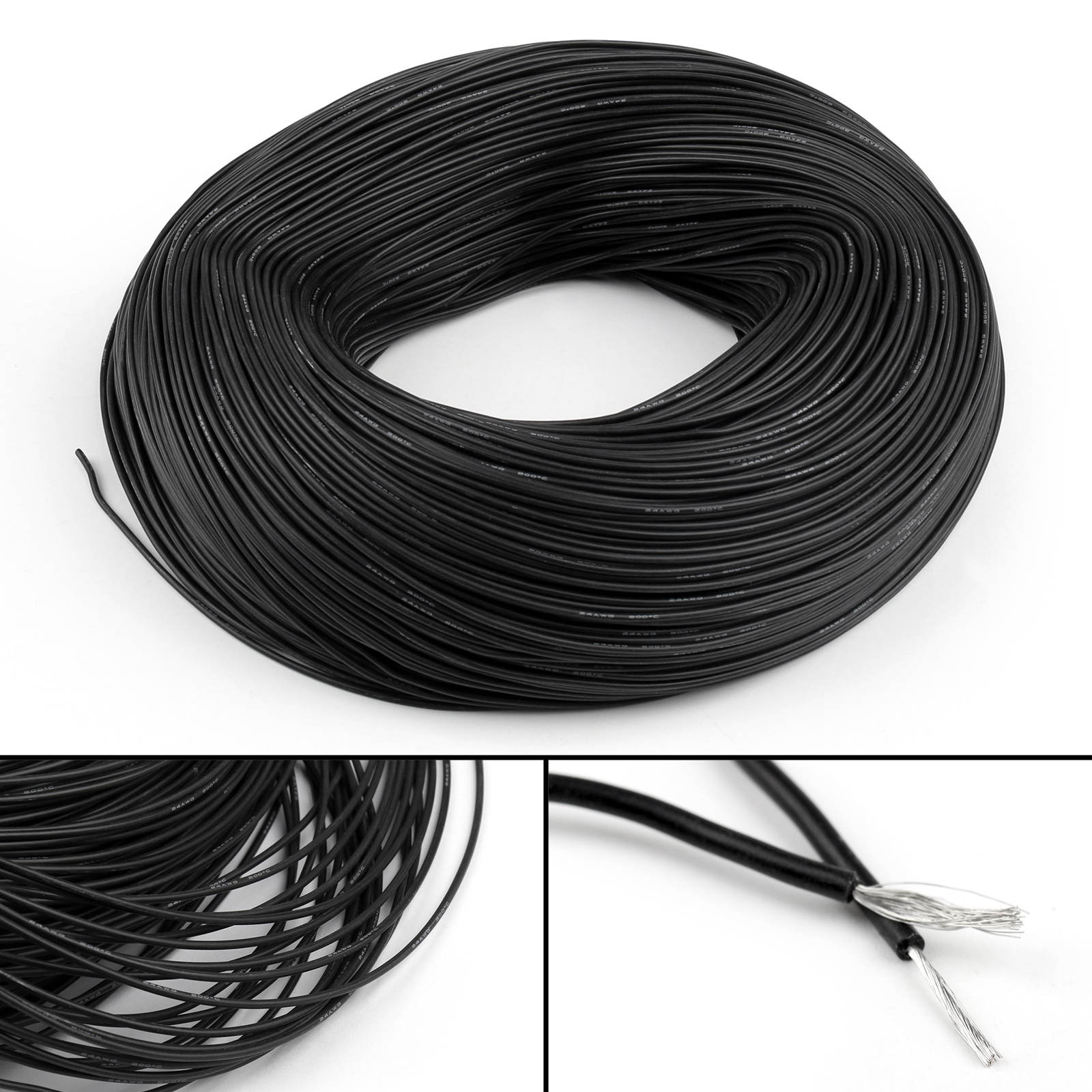5M Flexible Stranded Silicone Rubber Wire Cable 24AWG Gauge OD 1.5mm ...