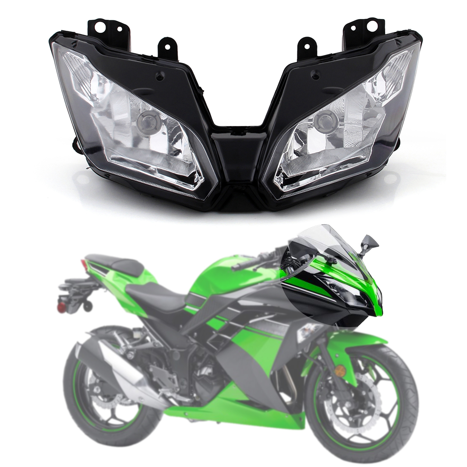 Motor Front Headlight Head Lamp Assembly For Kawasaki Ninja 300 EX300 2013-2017