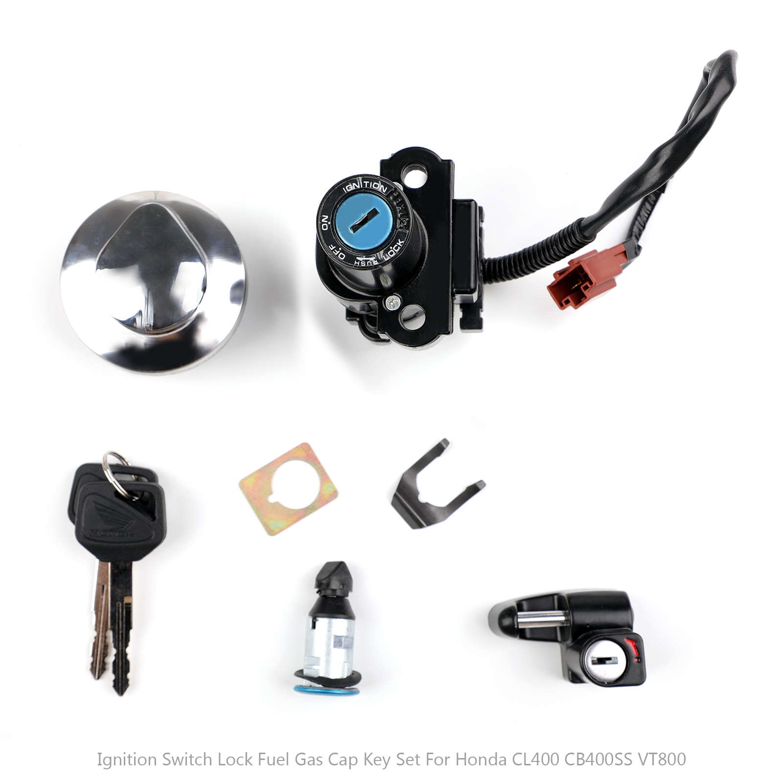 Unlimited Rider 5 Wire Ignition Switch Fuel Gas Cap Keys Helmet Seat Lock Key for Honda CMX250 Rebel CA125 1995-1999