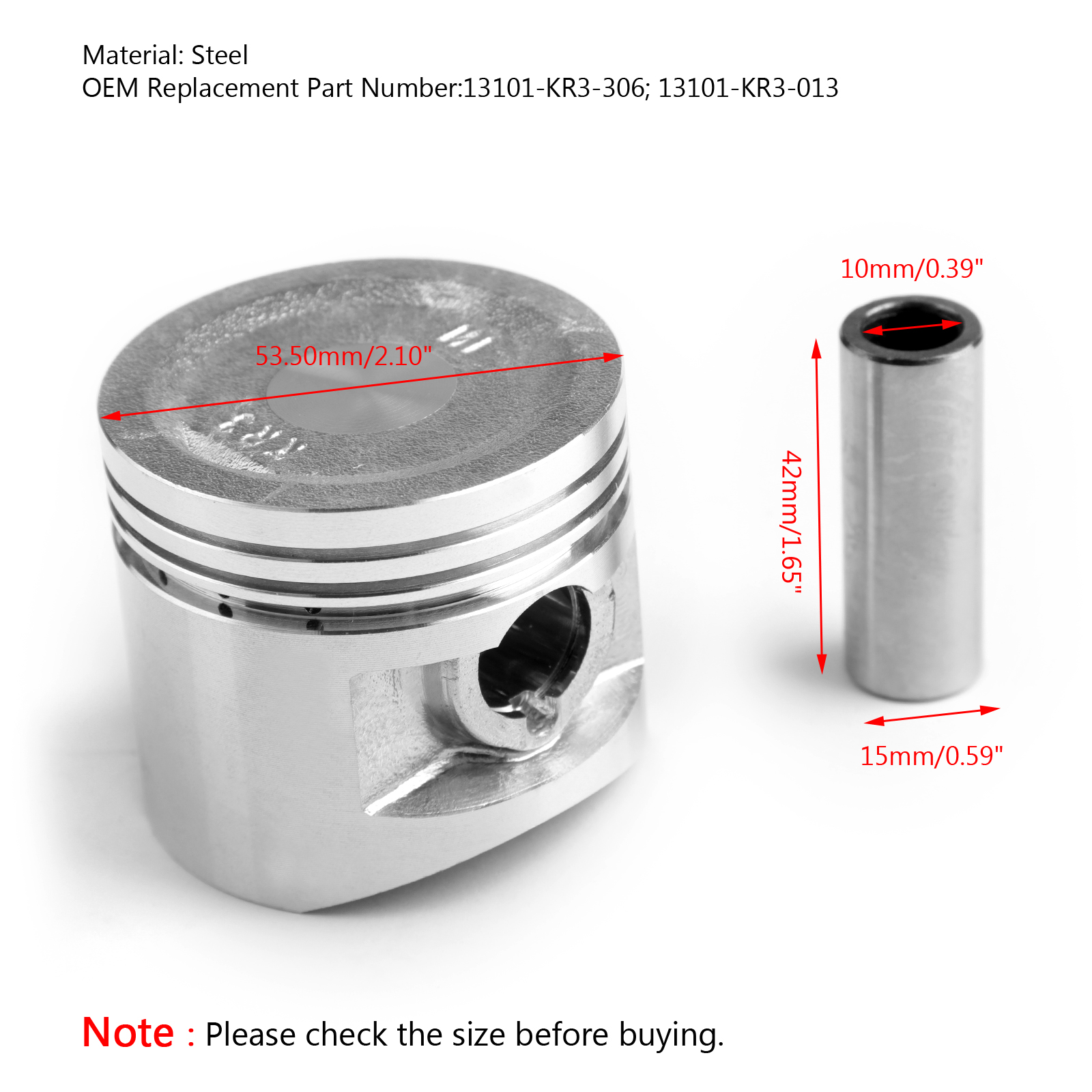 Wiseco Piston Kit 0.50mm Oversize to 50.00mm 509M05000