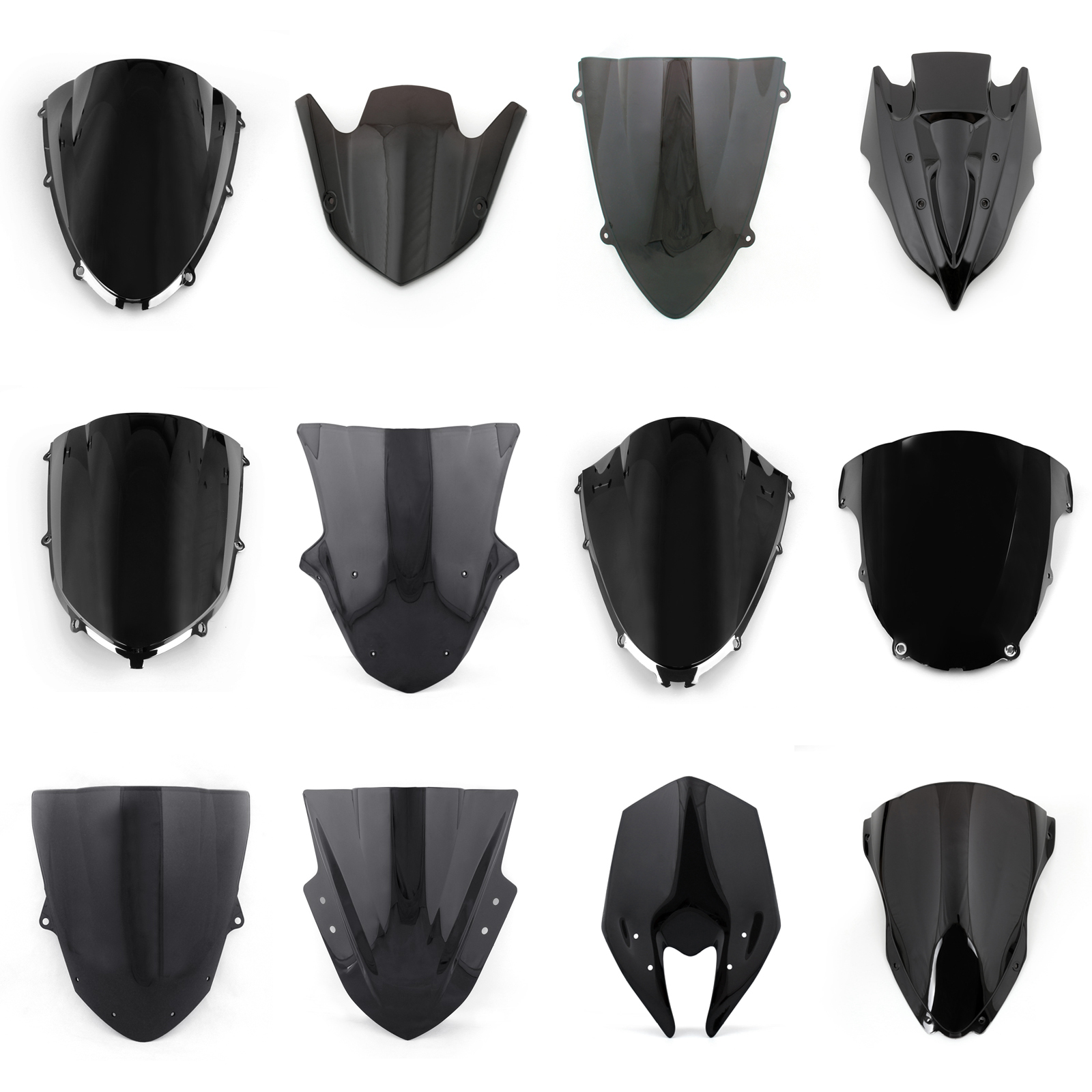 Windshield Windscreen Double Bubble For Kawasaki Zx6r Zx10r Z1000 Visor Ninja 150 Rr New Brand Pieces 1 Color Black Condition The Holes Are Pre Drilled Aftermarket Parts Modify Use