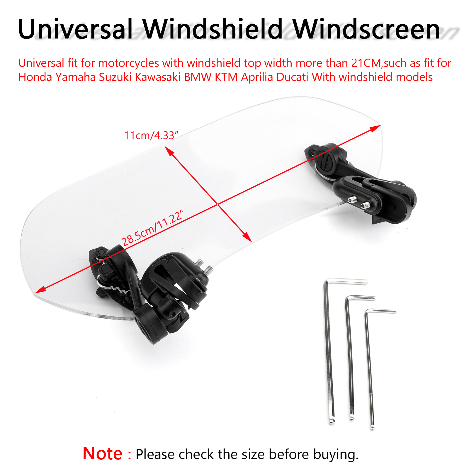 Motorcycle Adjustable Clip On Windshield Extension Spoiler